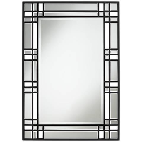 "Akeno Black Lattice 28"" x 40"" Rectangular Wall Mirror"