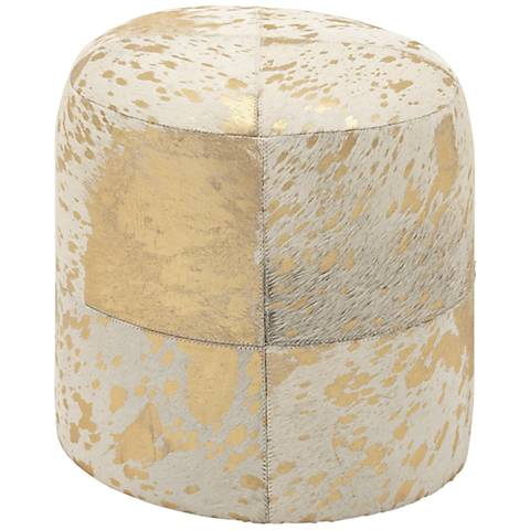 Natural Reflections Gold and White Leather Round Ottoman