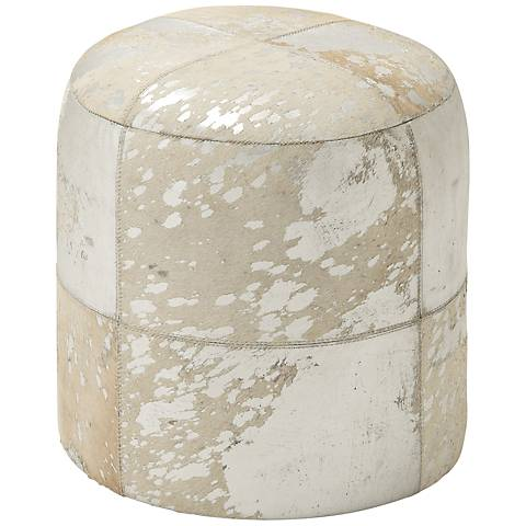 Natural Reflections Silver and White Leather Round Ottoman