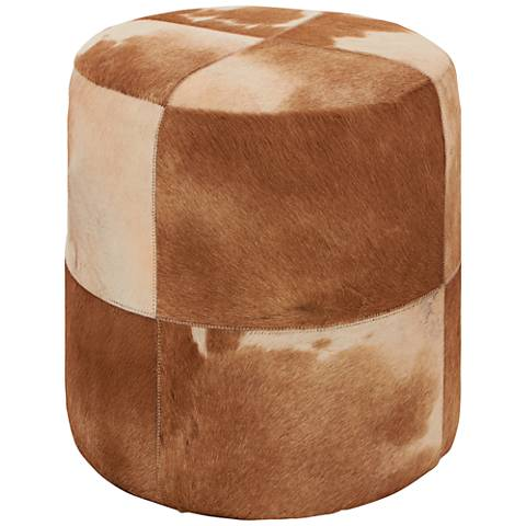 Wilson Brown and Ivory Leather Hide Round Ottoman