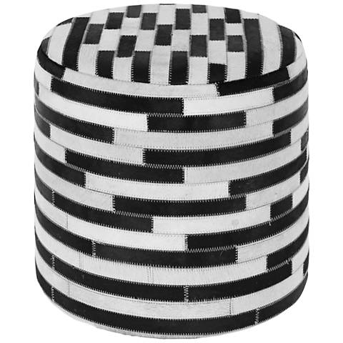 Modern Reflections Black and White Leather Round Ottoman