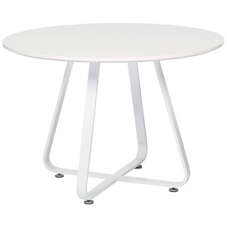 """Mason 43"""" Wide High Gloss White Round Modern Dining Table"""