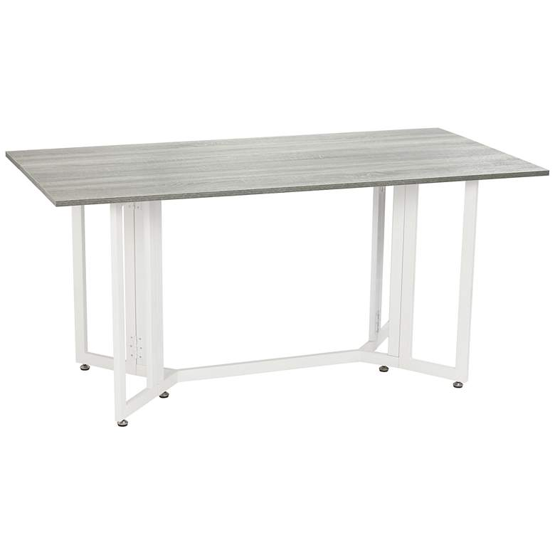 """Holly and Martin 63""""W Gray Drop Leaf Console Dining Table"""