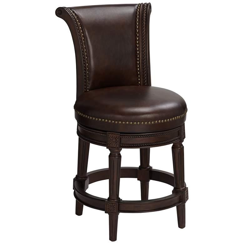 Prime Addison 24 1 2 Mocha Leather Swivel Counter Stool Bralicious Painted Fabric Chair Ideas Braliciousco