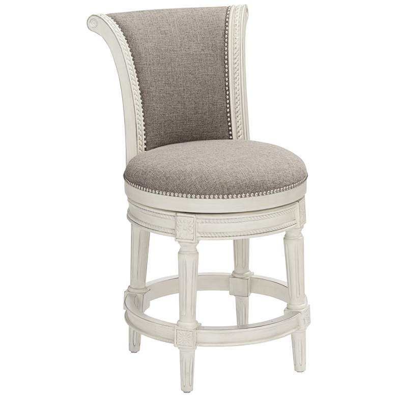 Oliver 24 1 2 Quot Pewter Scroll Back Swivel Counter Stool