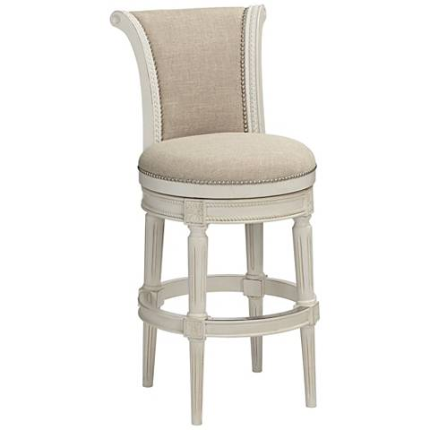 oliver 30 cream fabric scroll back swivel bar stool 47c21 lamps plus. Black Bedroom Furniture Sets. Home Design Ideas