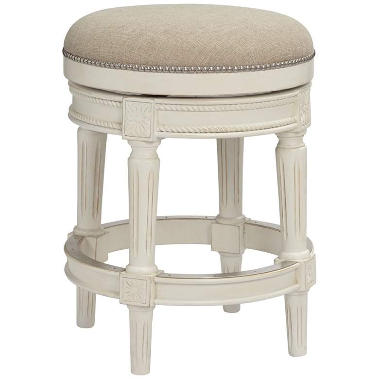 Enjoyable Oliver 24 Cream Fabric Backless Swivel Seat Counter Stool Forskolin Free Trial Chair Design Images Forskolin Free Trialorg