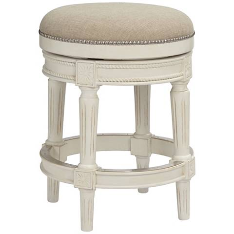 Oliver 24 Cream Fabric Backless Swivel Seat Counter Stool 47c22