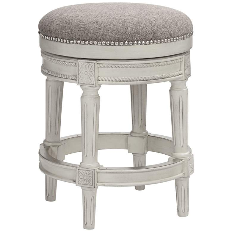 "Oliver 24"" Pewter Fabric Vintage Gray Swivel Counter Stool"