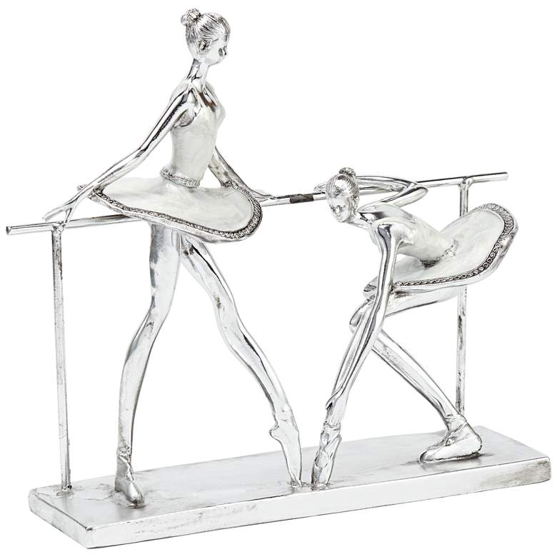 "Ballerina Practice 11 1/2"" High Silver Sculpture"