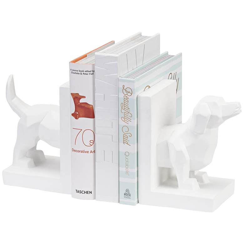 "Polygon Dog 4 1/4"" High Modern Bookends"