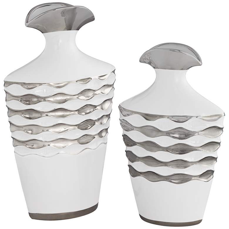 Bainbridge White and Silver Ceramic Vase 2-Piece Set