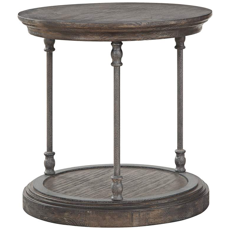 """Corbin 23 1/2"""" Wide Wooden Round End Table"""