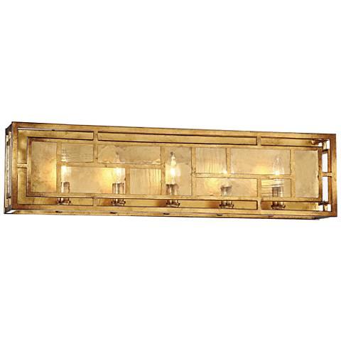 "Edgemont Park 29"" Wide Pandora Gold Leaf 5-Light Bath Light"