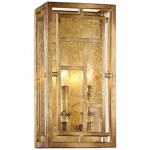 "Edgemont Park 14"" High Pandora Gold Leaf 2-Light Wall Sconce"