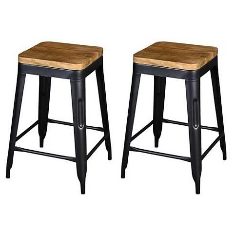 Natural Wood and Black Iron Counter Stools Set of 2