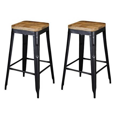 Natural Wood and Black Iron Bar Stools Set of 2