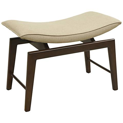 SoHo Brown Birch and Natural Linen Accent Bench