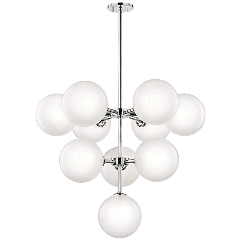 "Ashleigh 29 3/4""W Polished Nickel 10-Light LED Chandelier"