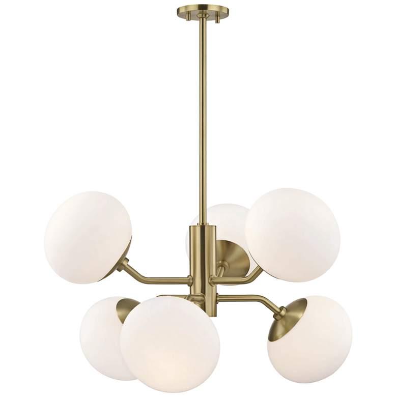 "Mitzi Estee 28"" Wide Aged Brass 6-Light Chandelier"