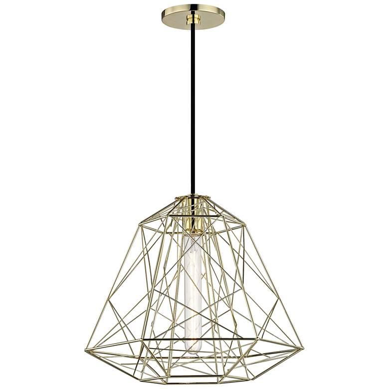 """Mitzi Ani 15 1/2"""" Wide Polished Brass Pendant Light"""