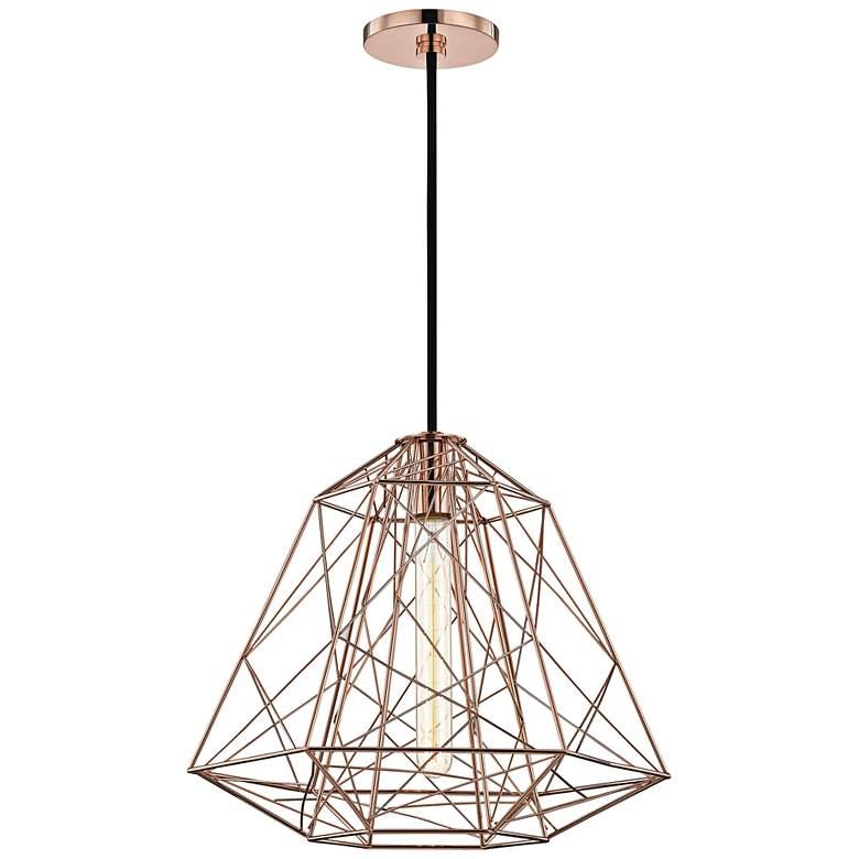 "Mitzi Ani 15 1/2"" Wide Polished Copper Pendant Light"