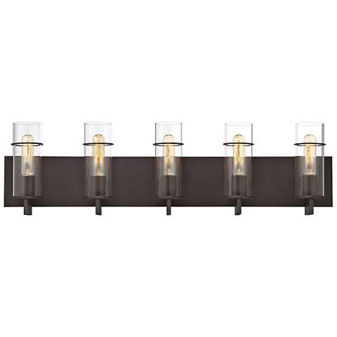 """Eurofase Pista 33 3/4"""" Wide Bronze 5-Light Bath Light"""