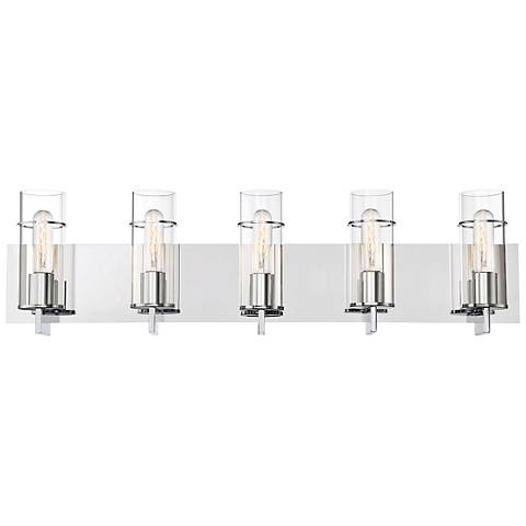 "Eurofase Pista 33 3/4"" Wide Chrome 5-Light Bath Light"