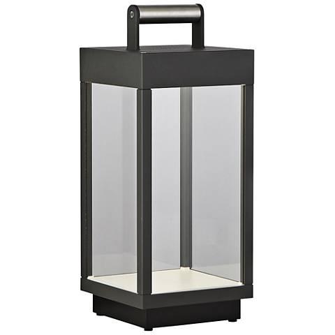 "Outdoor Portable 14""H Gray LED Lantern w/ Bluetooth Speaker"