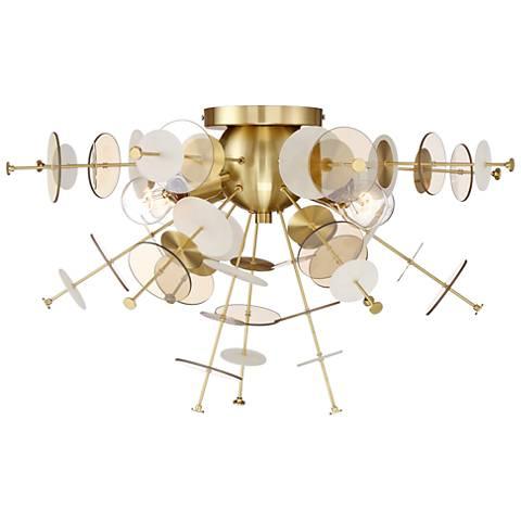 "Eurofase Bonazzi 24"" Wide Brass 4-Light Ceiling Light"