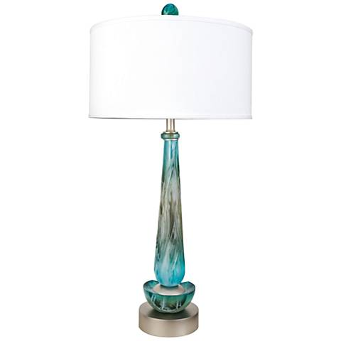 Van Teal Mainmast Teal and White Acrylic Table Lamp