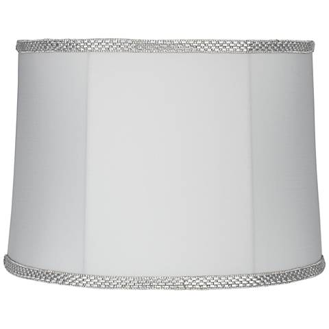 White with Rhinestone Trim Drum Lamp Shade 13x14x10 (Spider)
