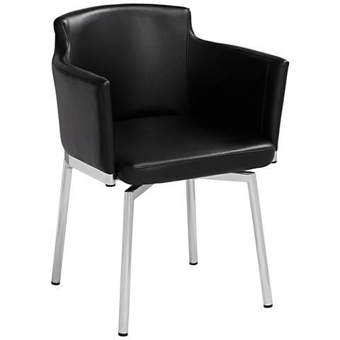 Benvolio Black Faux Leather Swivel Armchair