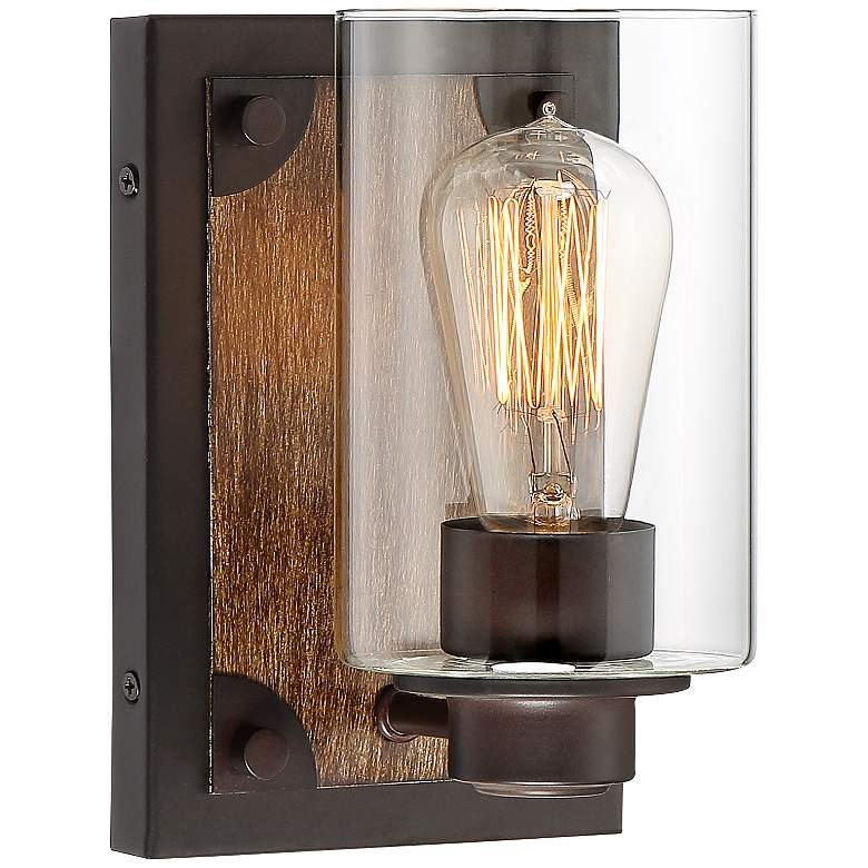 """Buford 8"""" High Wood-Accented Bronze Rustic Wall Sconce"""
