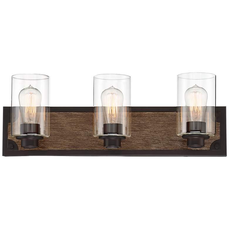 "Buford 23"" Wide Wood-Accented Black Three-Light Bath Light"