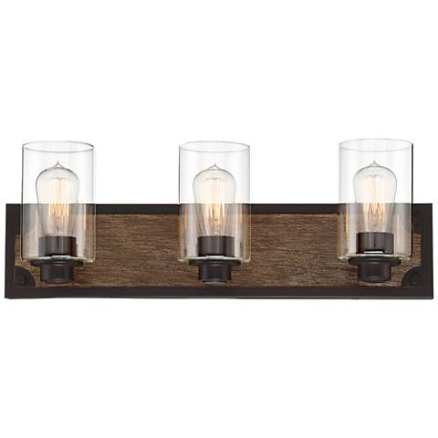 "Buford 23"" Wide Wood-Accented Black Three-Light Bath Light"