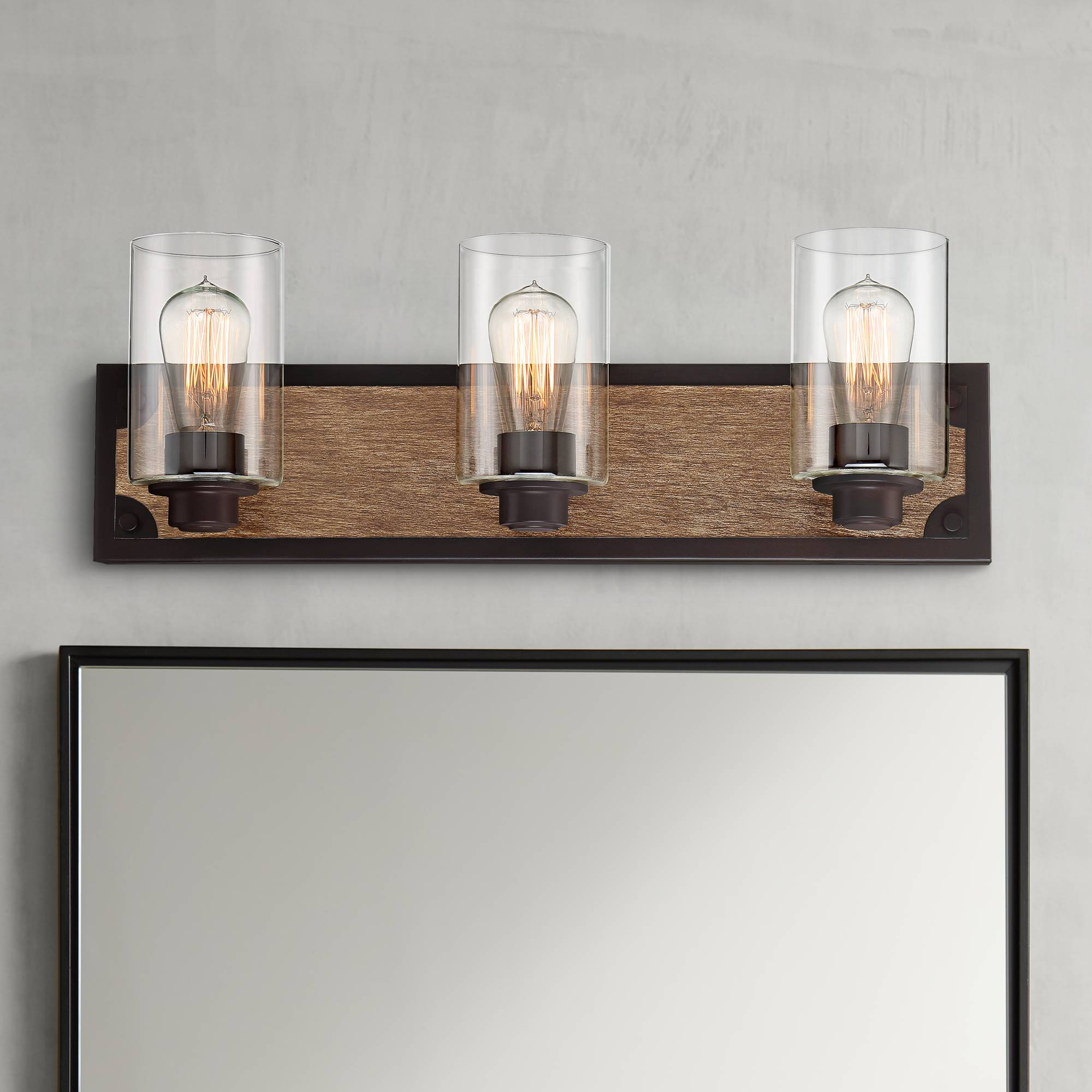 Details About Rustic Farmhouse Wall Light Wood Accented Black 23 3 Fixture For Bathroom