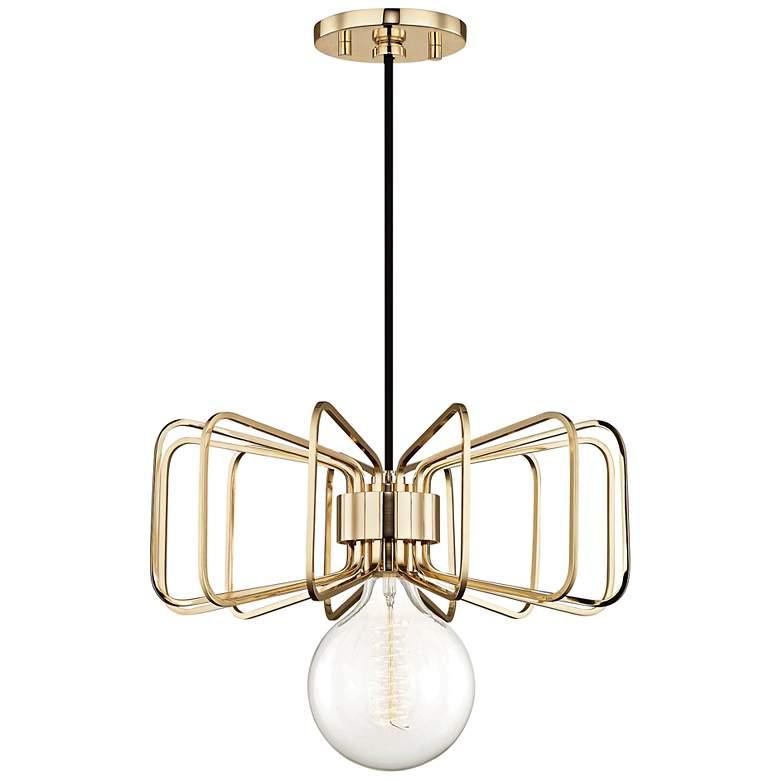 """Mitzi Daisy 14 1/2"""" Wide Polished Brass Pendant Light"""