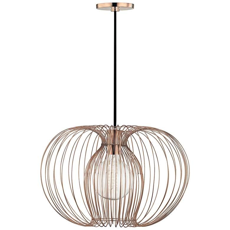 "Mitzi Jasmine 17"" Wide Polished Copper Pendant Light"