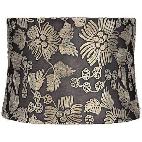 Natalie Gold Flowers Gray Drum Lamp Shade 13x14x10 Spider