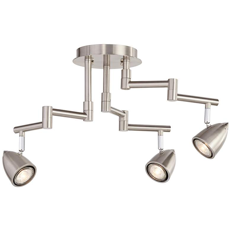 Pro Track Abstract 3-Light Brush Nickel Iron Track Fixture