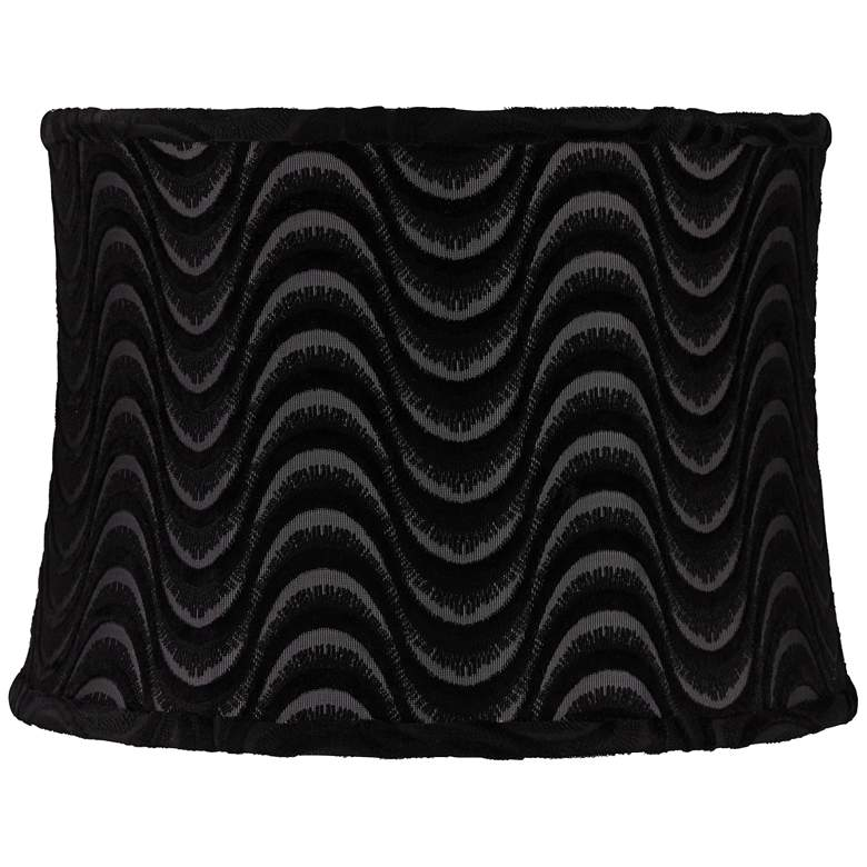 Baywood Black Sheer Wave Drum Lamp Shade 13x14x10 (Spider)