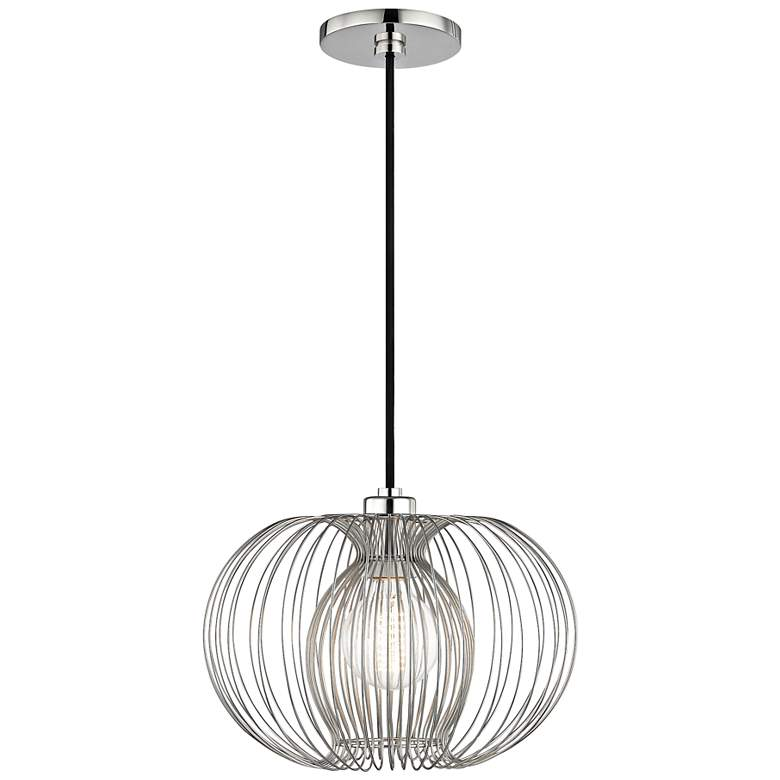 "Mitzi Jasmine 12"" Wide Polished Nickel Mini Pendant"