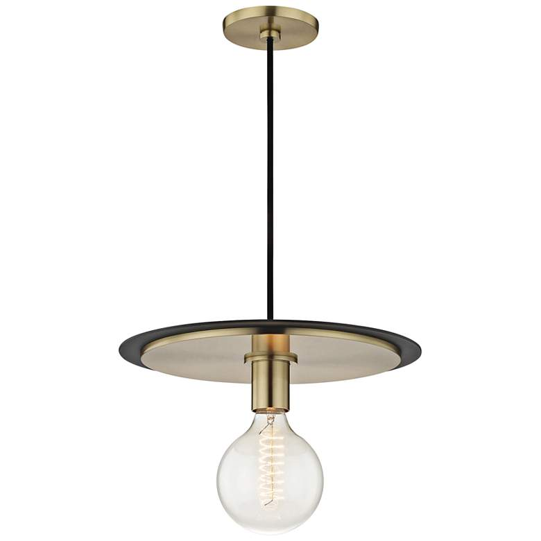 "Mitzi Milo 14"" Wide Aged Brass and Black Pendant Light"