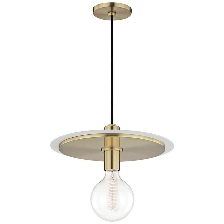 "Mitzi Milo 14"" Wide Aged Brass and White Pendant Light"