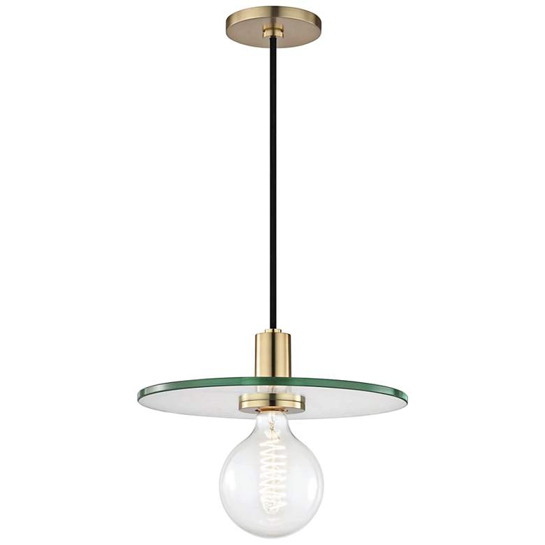 "Mitzi Peyton 12 1/2"" Wide Aged Brass Pendant Light"