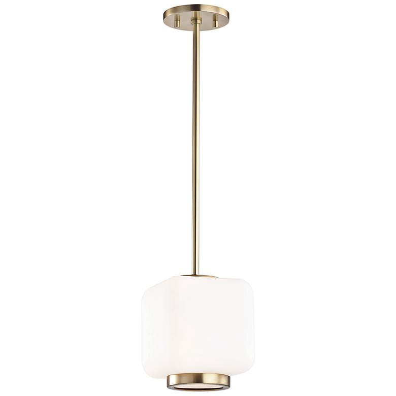 """Mitzi Jenny 6 1/2"""" Wide Aged Brass Mini Pendant"""