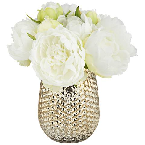 """White Peony 8""""H Faux Flowers in a Mercury Glass Vase"""