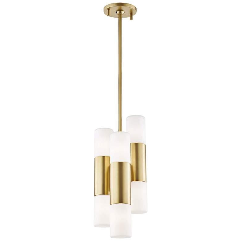 "Mitzi Lola 7 1/2"" Wide Aged Brass 6-Light LED Mini Pendant"