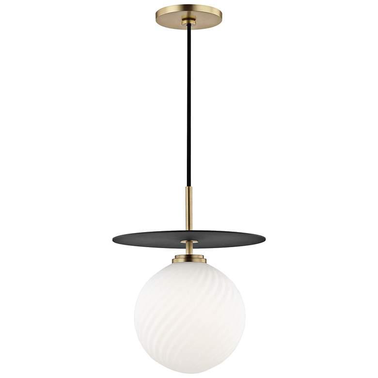 """Mitzi Ellis 10 1/4""""W Aged Brass and Black LED Mini Pendant"""